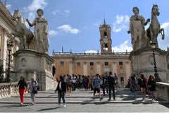 People visiting Piazza del Campodoglio Royalty Free Stock Image