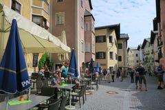People visiting Rattenberg at Inn river Tirol Austria Stock Photo