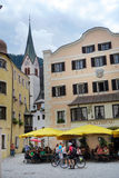 People visiting Rattenberg at Inn river Tirol Austria Stock Photography