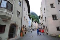 People visiting Rattenberg at Inn river Tirol Austria Stock Photos