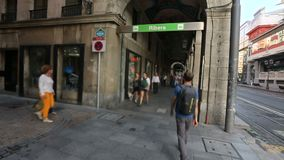 People visiting Ribera Market in Bilbao, the biggest covered market in Europe. Stock footage stock video