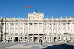 People visiting the royal palace  of Madrid on Spain Stock Photos
