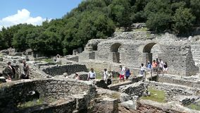People visiting ruins of Buthrotum Albania of roman and venetian time. Archaeological park. Also known as Butrint and Butrinti.