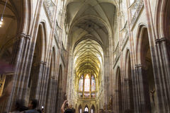 People visiting the Saint Vitus Cathedral, Prague Stock Photo