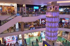A smaller replicate of the Pisa Tower at Terminal 21 Pattaya royalty free stock photos