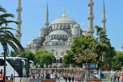 People visiting square near Sultan Ahmed Mosque Royalty Free Stock Photo