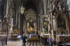 People visiting the St. Stephen's Cathedral in Vienna Royalty Free Stock Images