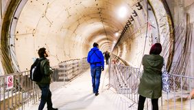 People visiting the subway tunnels from the 5th Bucharest line Stock Image
