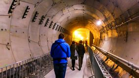 People visiting the subway tunnels from the 5th Bucharest line Royalty Free Stock Image