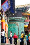 People visiting Taer Temple. Many people are visiting Taer Temple,which was built over 500 ago, located in Qinghai, China Royalty Free Stock Photography