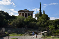 People visiting the temple of hephaestus Stock Image