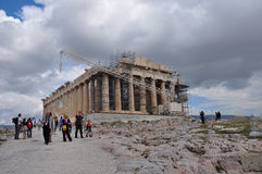 People visiting the temple of parthenon Stock Photography