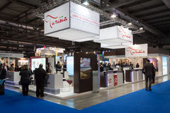 People visiting Tunisia stand at Bit 2014, international tourism exchange in Milan, Italy Stock Photos