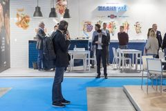 People visiting Tuttofood 2019 in Milan, Italy stock image