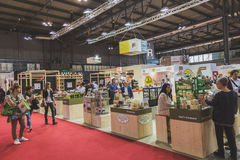 People visiting Tuttofood 2015 in Milan, Italy Royalty Free Stock Photography