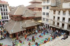 People visiting vegetable street market at Durbar Square,Kathmandu Stock Images