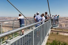 People visiting viewpoint with skywalk at Garzweiler brown-coal mine Germany Royalty Free Stock Images