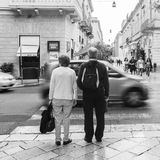 People visiting on walking the streets of the old town of Lecce Stock Photos