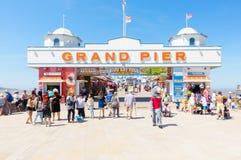 People Visiting Weston-super-Mare Pier. Weston-super-Mare, United Kingdom -  June 17, 2017: People are visiting the Pier in  Weston-super-Mare on a sunny day out Royalty Free Stock Photo