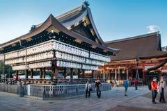 People visiting Yasaka Shrine Maidono at Maruyama Park in Kyoto on a beautiful sunny day. Kyoto, Japan -November 2, 2018: People visiting Yasaka Shrine with royalty free stock photography