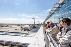 People at the Visitors Terrace in Frankfurt Airport Royalty Free Stock Photography