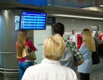 People at the Vnukovo airport arrivals flights, Moscow, Russia Stock Image