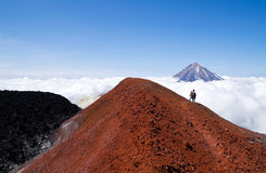 People on volcano Royalty Free Stock Images
