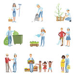 People Volunteers In Different Situations Royalty Free Stock Image