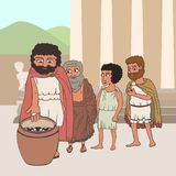 People voting in ancient greece cartoon. Male citizens voting in ancient greece by placing pebbles in urn, funny cartoon vector illustration of democracy origins royalty free illustration