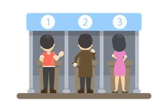 People at voting booth. People at voting booth choosing the right candidate royalty free illustration