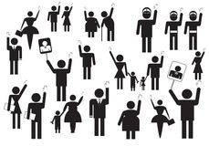 People voting on elections. Symbols of group of people voting on elections, illustration stock illustration