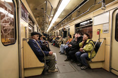 People in wagon in underground in Budapest Royalty Free Stock Image