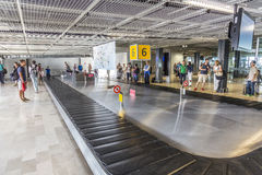 People wait for baggage  in the terminal of Marseille Stock Photography