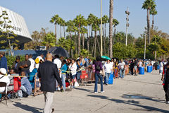People Wait For Free Clinic In Los Angeles. Los Angeles, USA - October 17, 2011:  People without medical insurance wait in long lines that stretch around the Royalty Free Stock Photos