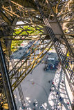 People wait for the lift at the southern tower of the Eiffel tow. PARIS, FRANCE - JUNE 10, 2015: people wait for the lift at the southern tower of the Eiffel Royalty Free Stock Photos