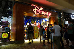 People wait in line for opening of Disney Store Royalty Free Stock Photography