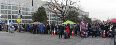 People wait on line to attend Inauguration of Donald Trump Royalty Free Stock Photography