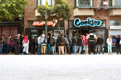People Wait In Long Line To Buy Marijuana Accessories Stock Image