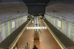 People wait at the metro station for the arriving train Royalty Free Stock Images