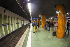 People wait at the metro station Stock Photos