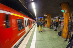 People wait at the metro station Royalty Free Stock Photos