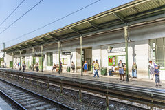 People wait for the next train at station Alser Strasse Royalty Free Stock Images