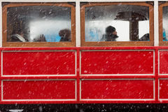 People wait in nostalgic tram Stock Image