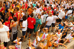 People wait for the start of La Tomatina festival Stock Photo