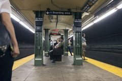 People wait in subway station jay street metro tech in new york Stock Images
