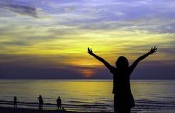 People wait for sunrise Stock Images