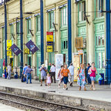 People wait for the train at Stock Photo