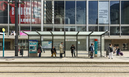 People wait at train station Willi Brandt Platz Stock Photography