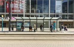 People wait at train station Willi Brandt Platz Royalty Free Stock Photo