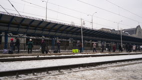 People wait trains on railway station in Kiev, time lapse. stock video